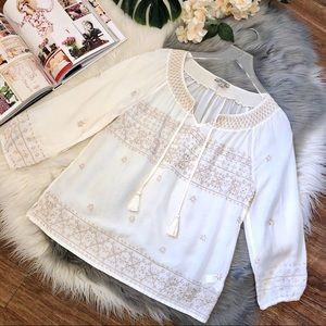 Lucky Brand Embroidered Tunic Tie Front Blouse M